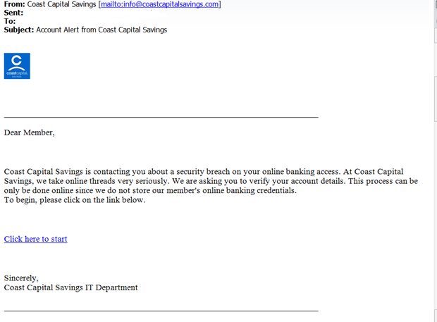 Coast Capital Savings - Phishing